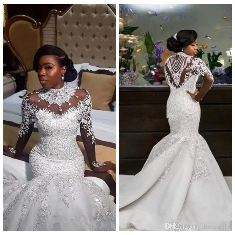 2018 bling bling slim mermaid wedding dresses crystals beaded sheer long sleeves lace appliques bridal wedding gowns beading sequins custom Bedazzled Wedding Dresses