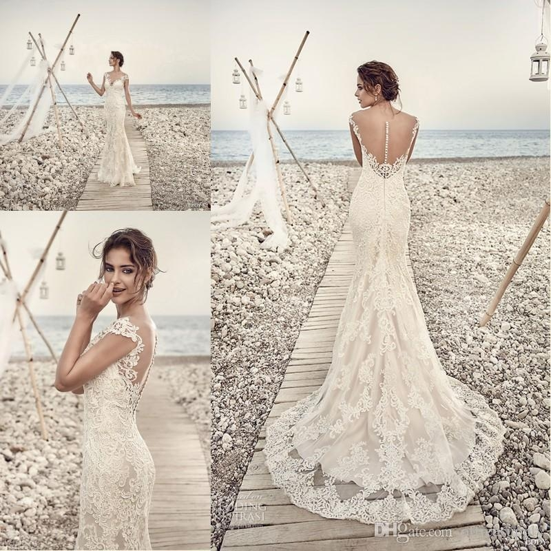2018 gorgeous eddy k wedding dresses sheath mermaid v neck capped sleeves backless lace wedding gowns custom made wedding gown mermaid wedding dresses Eddy K Wedding Dresses