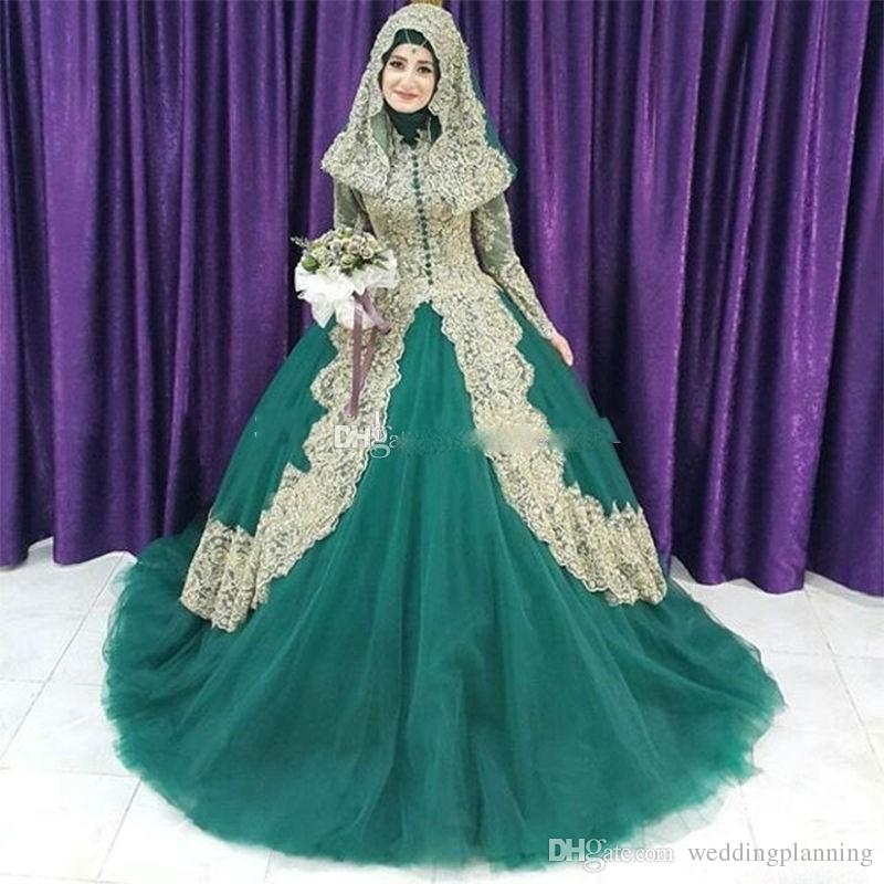 2018 muslim green and gold lace ball gown islam wedding dresses arabic high collar long sleeves hijab veil plus size bridal gowns canada 2019 from Islamic Wedding Dresses With Hijab