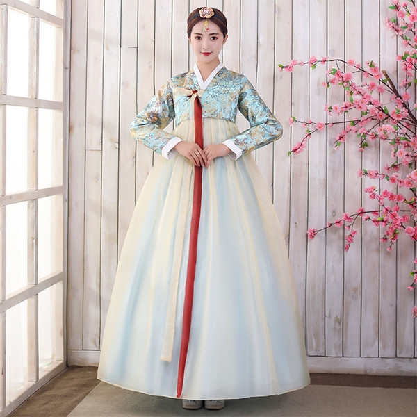 2019 new women korean traditional hanbok female anicent retro court wedding dresses lady asian stage cosplay clothing from benedica 6213 Hanbok Wedding Dress