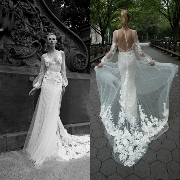2020 gorgeous inbal dror mermaid wedding dresses v neck appliques illusion backless bridal gowns sweep train custom made wedding dress wedding dresses Inbal Dror Wedding Dress s