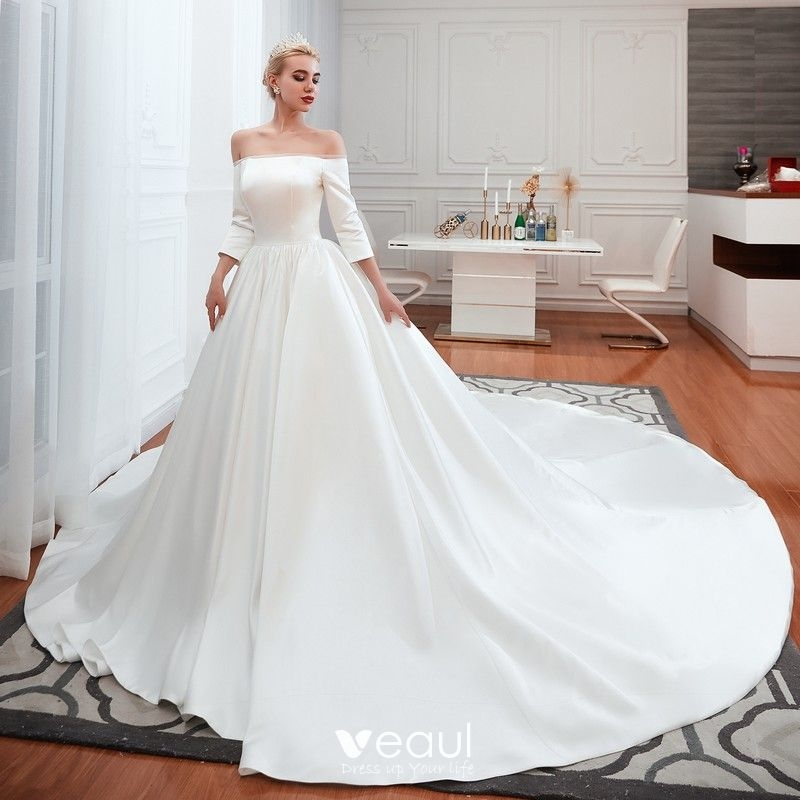 affordable modest simple ivory satin wedding dresses 2019 a line princess off the shoulder 34 sleeve backless cathedral train ruffle Inexpensive Modest Wedding Dresses
