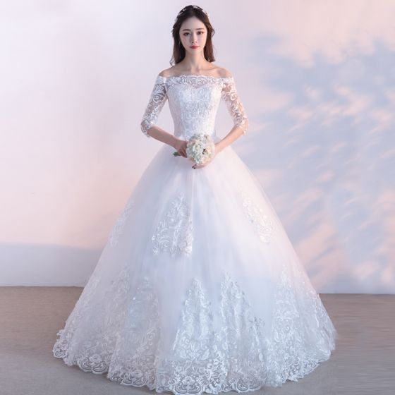 affordable modest simple outdoor garden wedding dresses 2017 lace appliques backless 34 sleeve off the shoulder floor length long white ball Inexpensive Modest Wedding Dresses