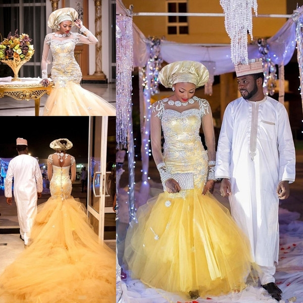 african traditional wedding dresses nigeria gold wedding gowns 2018 crystal beads sheer tulle long sleeves mermaid bridal dress plus size designer Nigerian Traditional Wedding Dresses