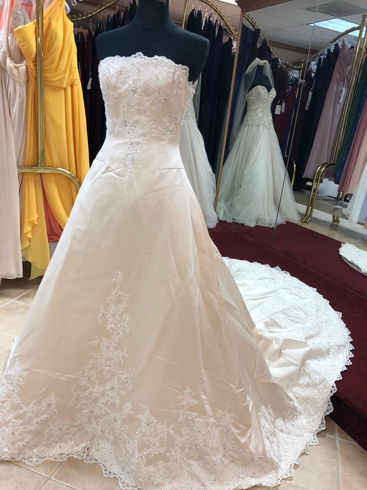 anjolique champagne ivory satin lace a line gown formal wedding dress size 6 s 91 off retail Anjolique Wedding Dresses