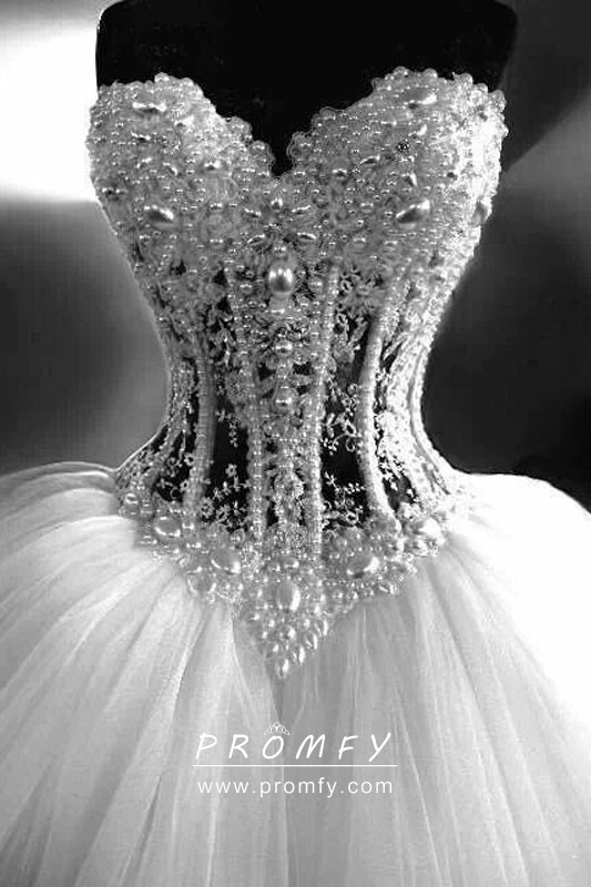 bedazzled pearls and beads corset wedding ball gown Bedazzled Wedding Dresses