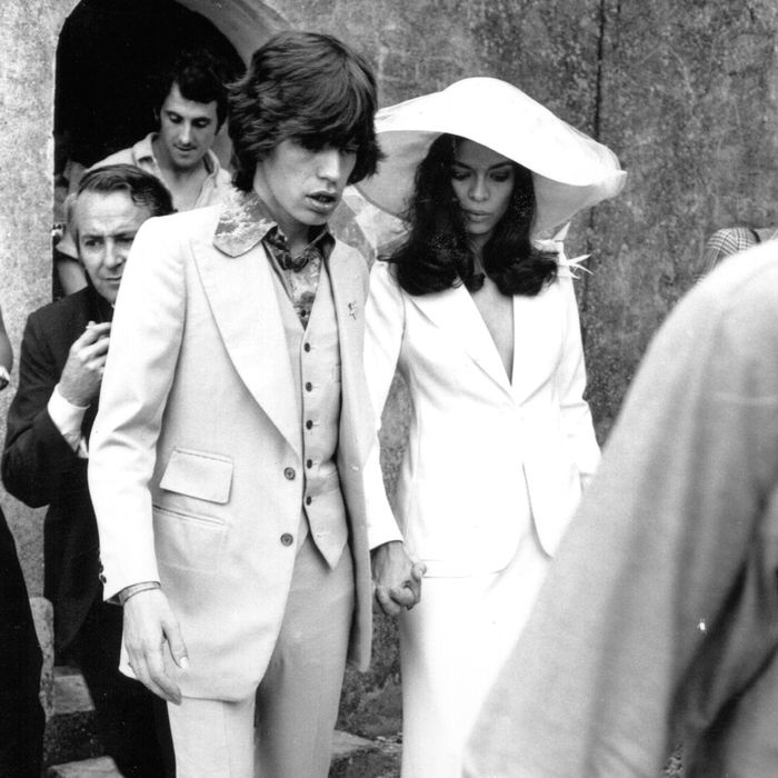 bianca jagger is the style icon i need to dress like who Bianca Jagger Wedding Dress