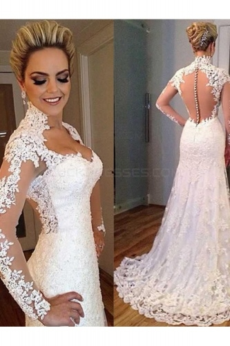 bridesire a line sweetheart long sleeve lace wedding dress Bridesire Wedding Dresses