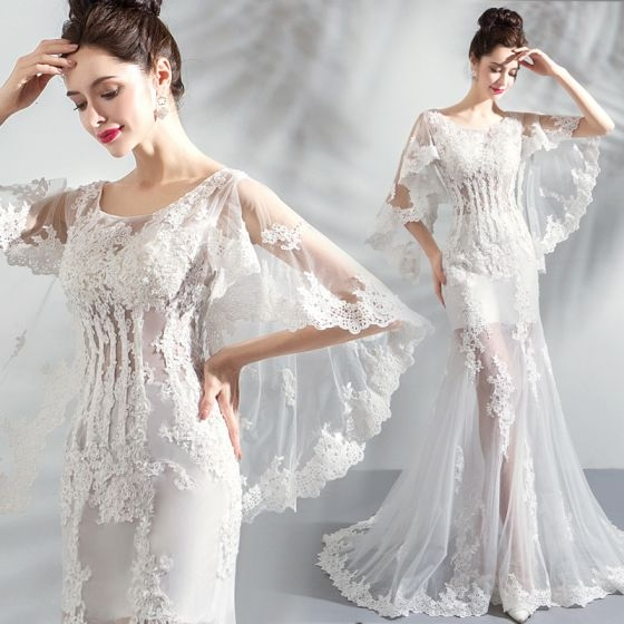 chic beautiful white beach wedding dresses 2018 trumpet mermaid scoop neck see through long sleeve backless appliques lace sweep train Beach Dresses For A Wedding