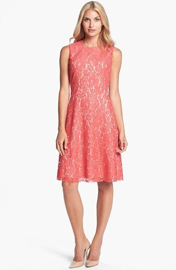 coral lace dresses for weddings eliza j lace fit flare Nordstrom Wedding Guest Dresses