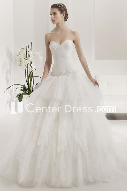 criss cross sweetheart appliqued drop waist layered tulle bridal gown Drop Waist Tulle Wedding Dress