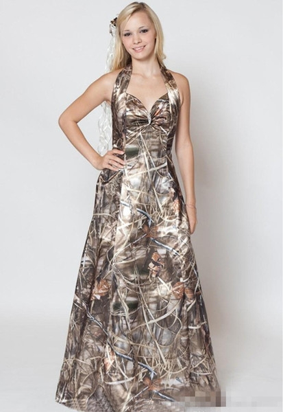 discount 2018 a line halter sweetheart camo wedding dresses with free camo veils for bridal gowns simple morden realtree camo wedding dresses a line Pictures Of Camo Wedding Dresses