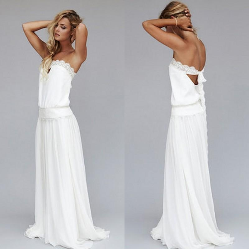 discount 2019 vintage dresses 1920s beach wedding dress cheap dropped waist bohemian strapless backless boho bridal gowns lace ribbon custom made Beach Dresses For A Wedding
