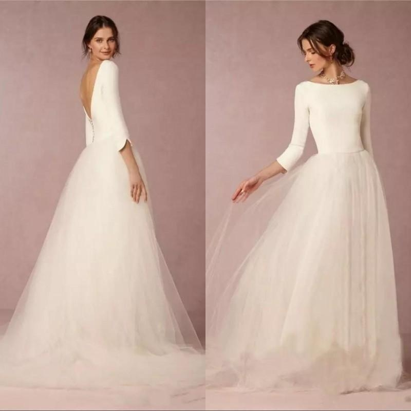 discount cheap modest wedding dresses a line top backless 2019 bridal gowns with long sleeves simple designer tulle skirt sweep train bridal boutiques Inexpensive Modest Wedding Dresses