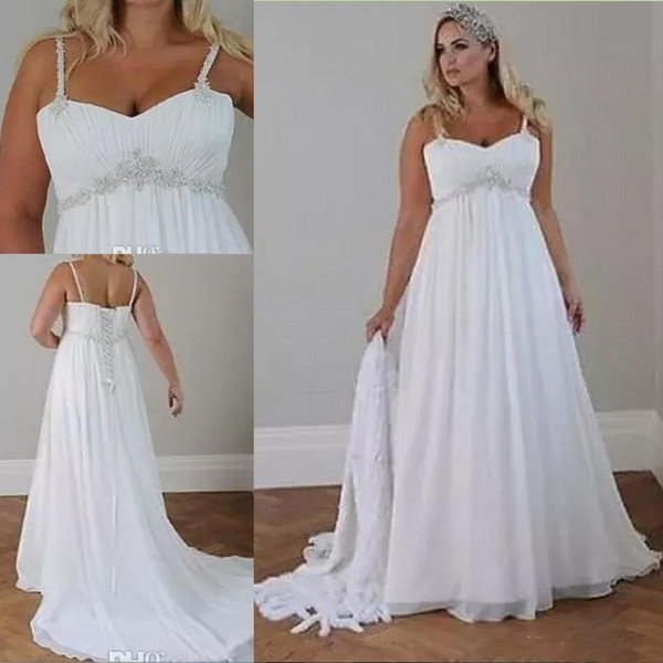 discount crystals plus size beach wedding dresses 2019 corset back spaghetti straps chiffon floor length empire waist elegant bridal gowns sleeveless Wedding Dresses For Plus Size Older Brides