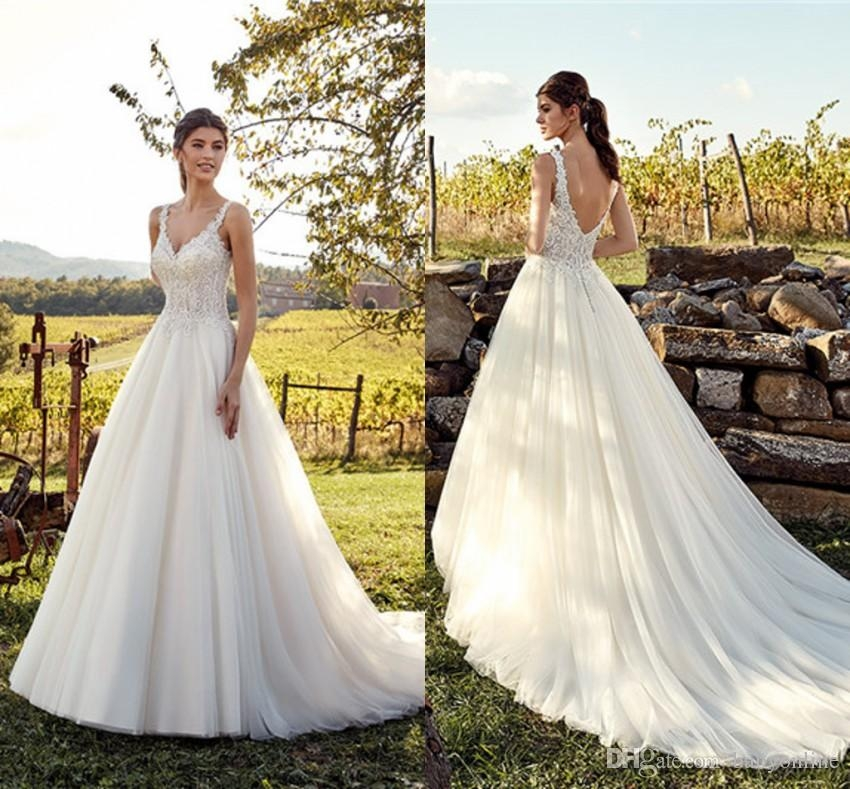 discount eddy k wedding dresses 2019 a line applique v neck low back summer garden bridal gowns with court train elegant wedding gowns grecian style Eddy K Wedding Dresses