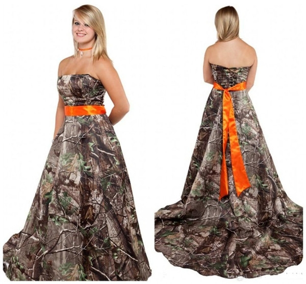 discount new camo wedding dress with orange sash strapless corset back plus size camo themed forest country camouflage bridal gowns cheap wedding Camo Sash For Wedding Dress