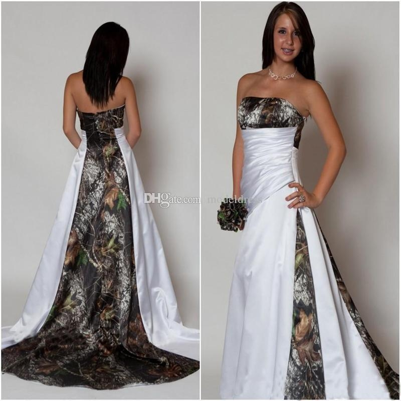 discount new design camo wedding dress 2019 strapless pleats a line sweep train satin country beach bridal gowns plus size cheap custom made princess Pictures Of Camo Wedding Dresses
