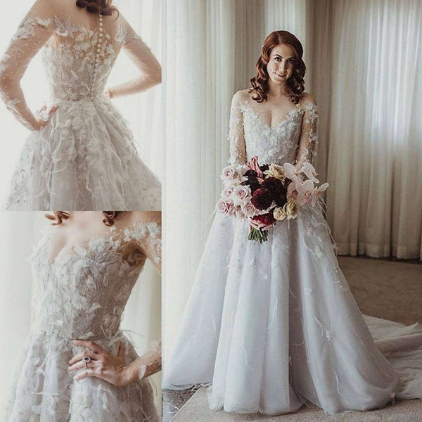 discount paolo sebastian 2019 wedding dresses long sleeve bridal gowns glamorous 3d floral appliqued lace tulle wedding dress robe de marie classic Paolo Sebastian Wedding Dress