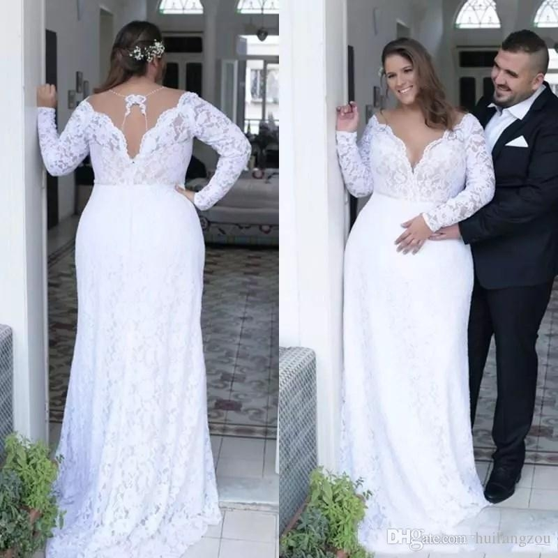 discount sexy plus size wedding dresses deep v neck sheath vintage long sleeves wedding dresses bridal gowns floor length spring summer wear gown Wedding Dresses For Plus Size Older Brides