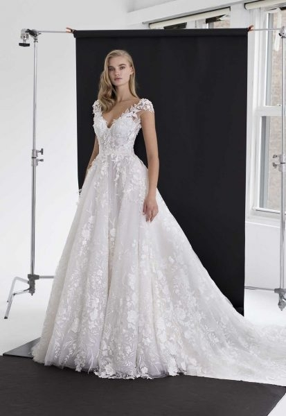 floral applique tulle ball gown Wedding Dresses Kleinfeld