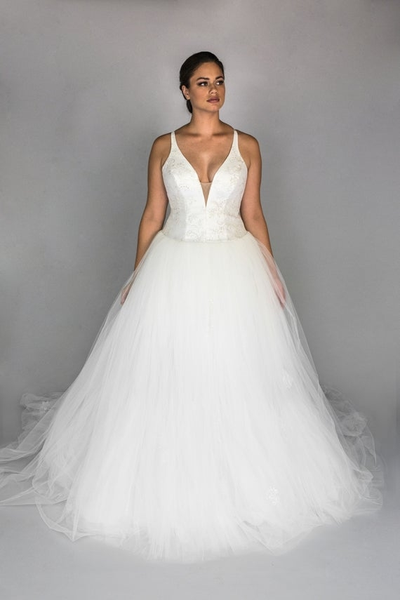 gabriella drop waist tulle ballgown lace bridal gown Drop Waist Tulle Wedding Dress