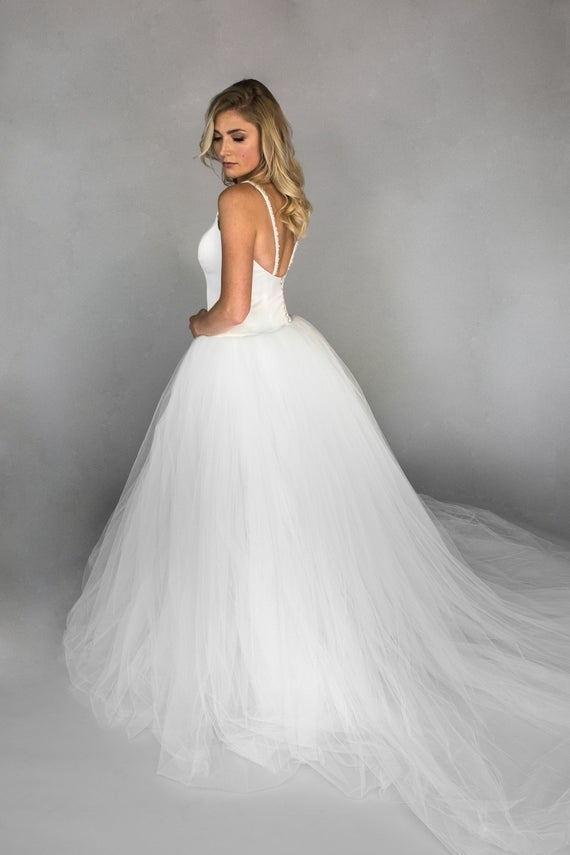 georgiana drop waist ballgown wedding dress with tulle skirt and skinny beaded straps Drop Waist Tulle Wedding Dress