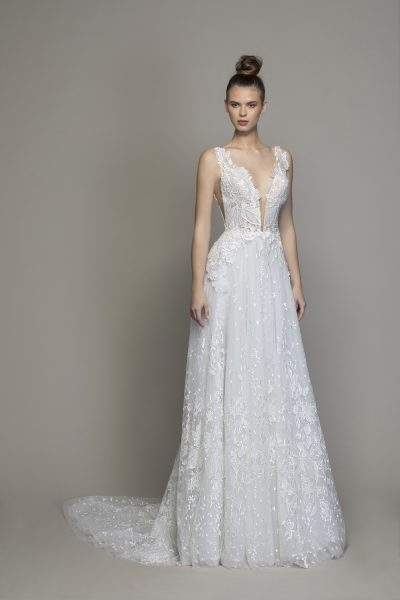 guipure lace sheath wedding dress with plunging v neckline Guipure Lace Wedding Dress