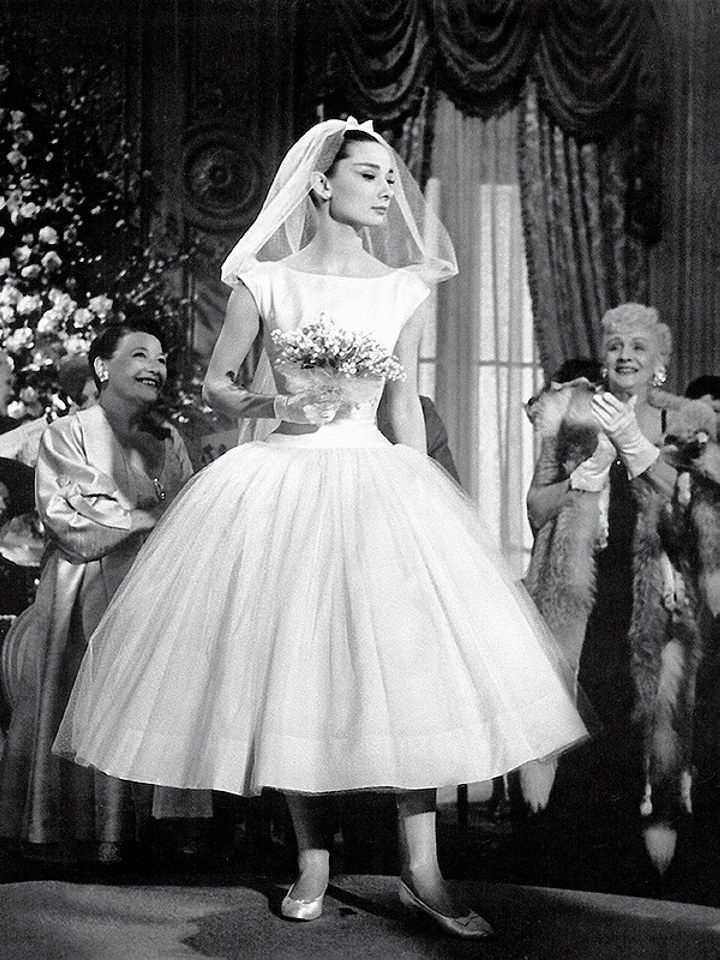 iconic wedding dresses in film funny face movie wedding Audrey Hepburn Funny Face Wedding Dress