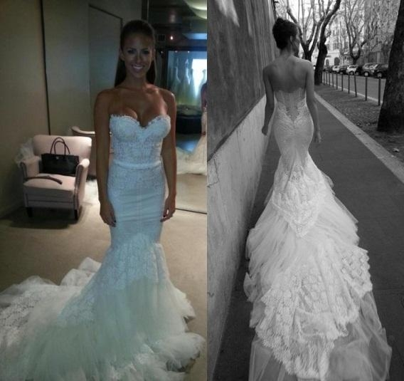 inbal dror fall winter white lace mermaid wedding dresses with sweetheart slim corset bodice tulle trimed cathedral train bridal gowns latest mermaid Inbal Dror Wedding Dresses For Sale