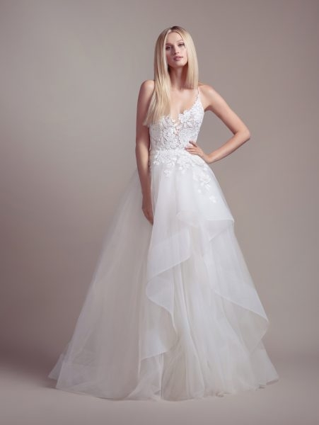 lace bodice spaghetti strap ball gown wedding dress Hayley Paige Wedding Dress