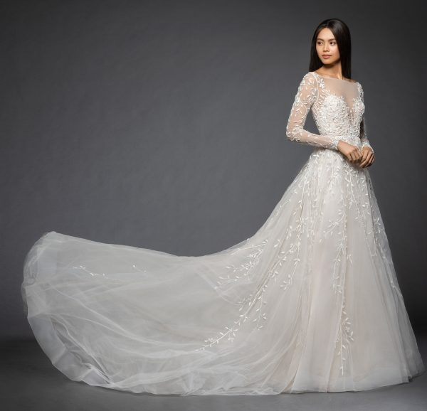 long sleeve floral design illusion sweetheart a line wedding dress Lazaro Wedding Dress