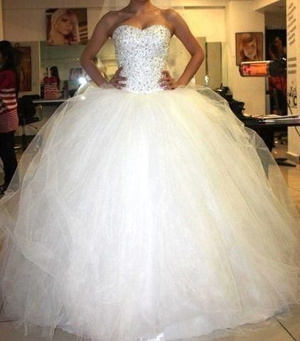 love how sparkly and poofy this wedding dress is poofy Big Poofy Wedding Dress