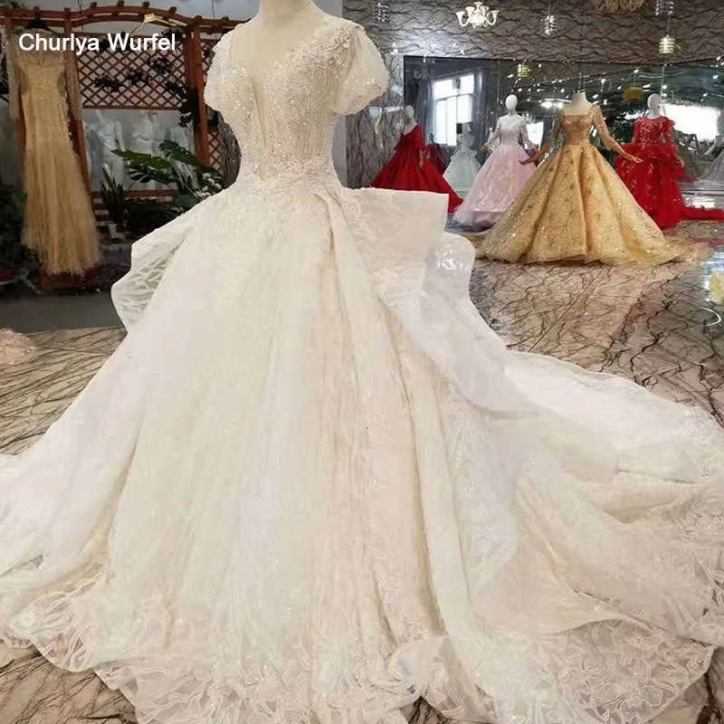 lss283 princess wedding dresses pure new big v neck short puffy sleeves wedding gown with ruffle style long train multi layer Big Poofy Wedding Dress