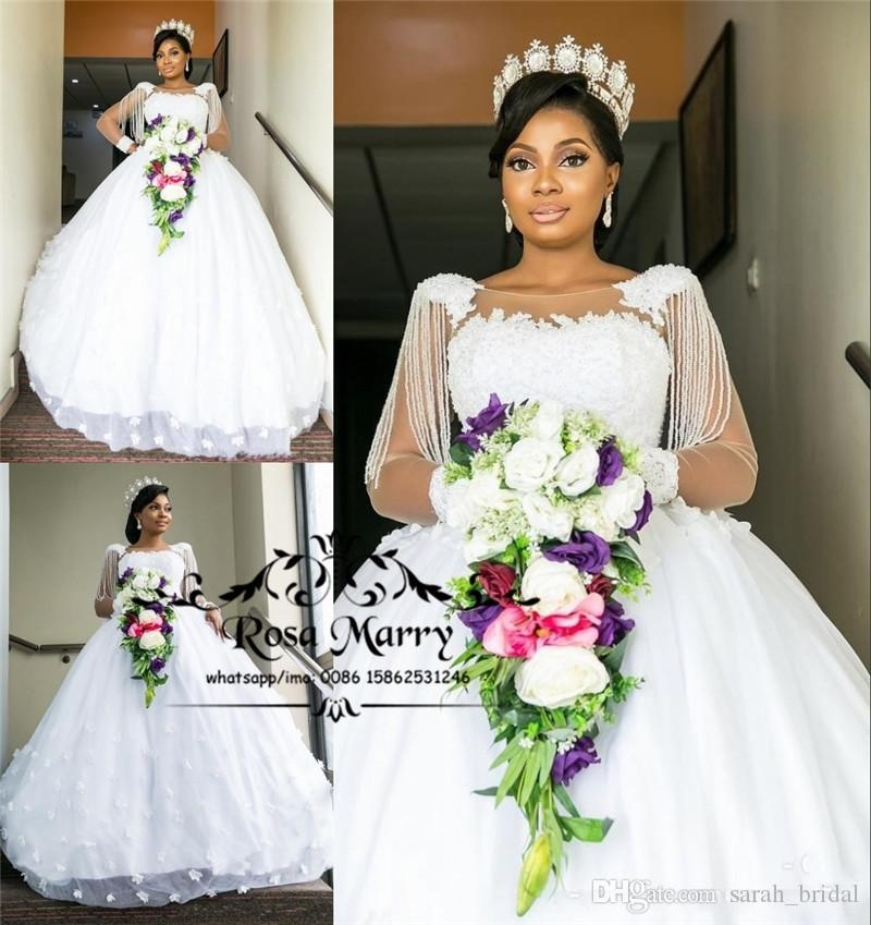 luxury bellanaija lace ball gown wedding dresses 2019 3d floral vintage lace long sleeves beading nigeria african dubai country bridal gowns halter Bella Naija Wedding Dresses