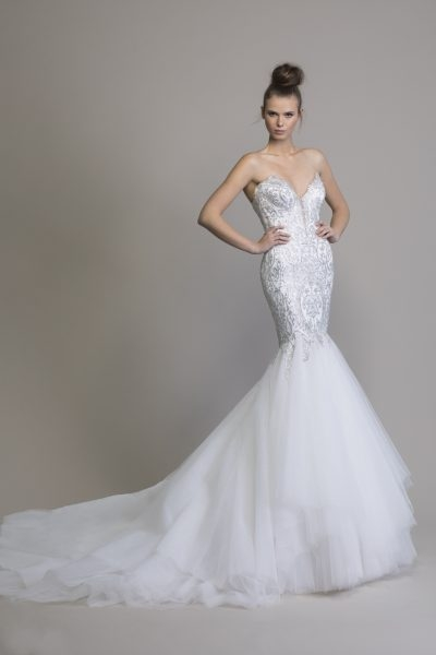 mermaid embellished wedding dress with tulle skirt Wedding Dresses By Pnina