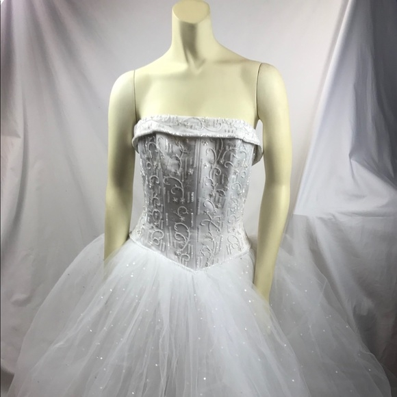 michael angelo wedding dress gown size 10 white Michaelangelo Wedding Dress