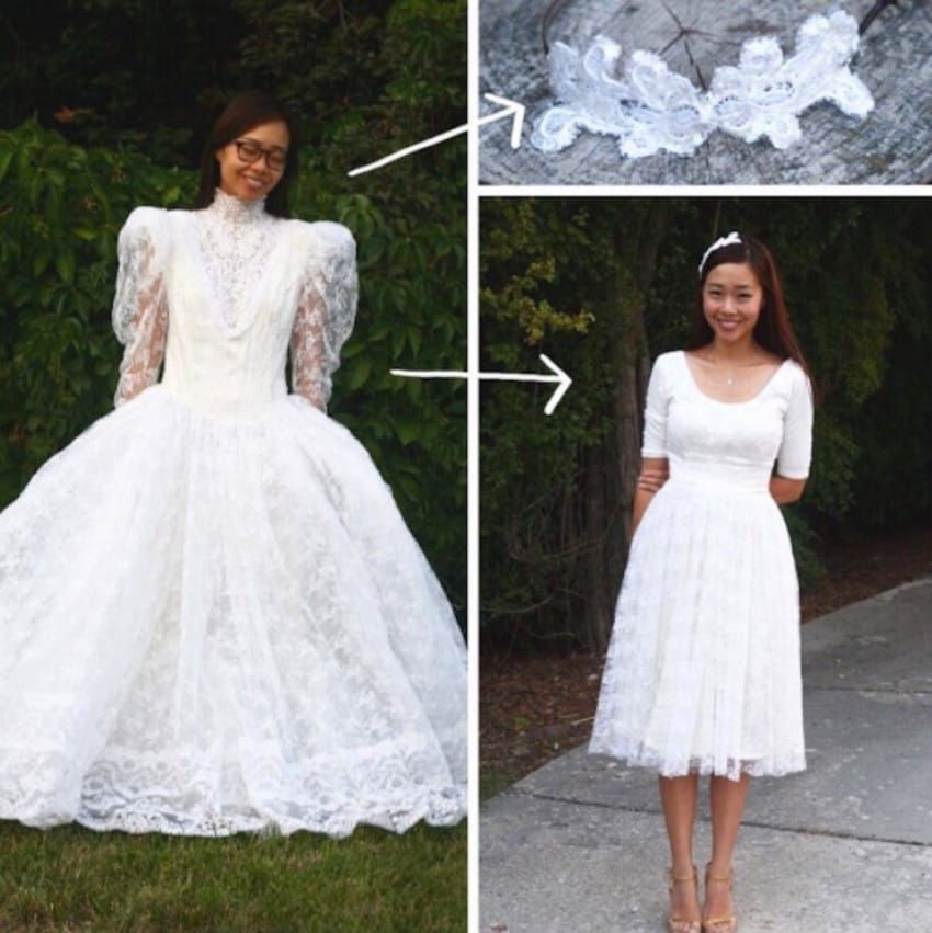 mom buys poofy wedding gown at thrift store then transforms Thrift Store Wedding Dresses