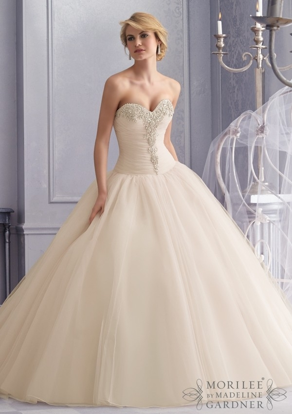 mori lee bridal 2677 Drop Waist Tulle Wedding Dress