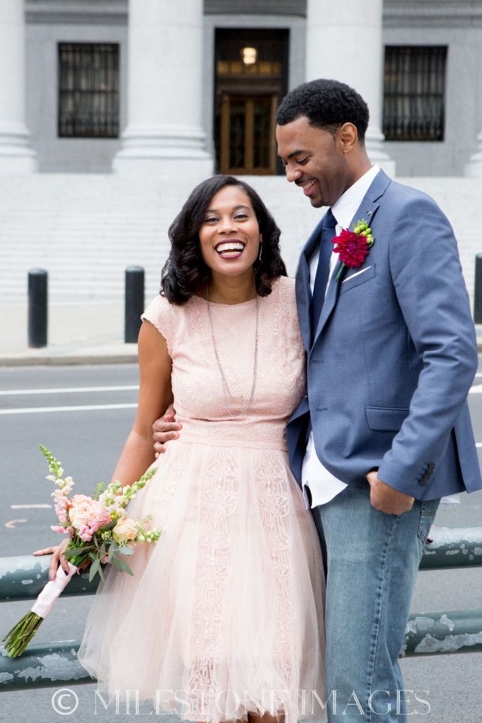 ny courthouse wedding african american natural hair blush Civil Court Wedding Dresses