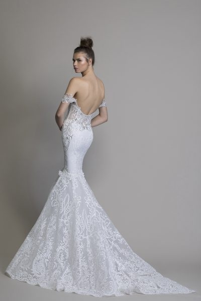 off the shoulder guipure lace mermaid wedding dress with crystal applique Guipure Lace Wedding Dress