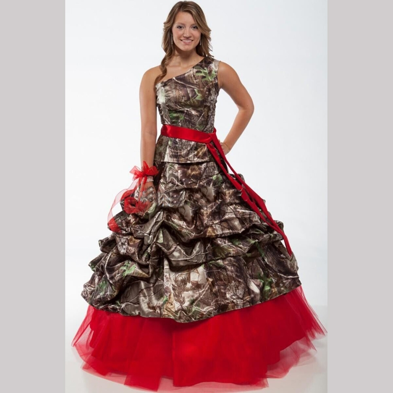 red one shoulder camo wedding dresses 2016 realtree with Camo Sash For Wedding Dress
