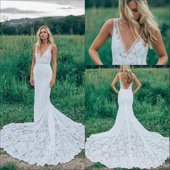 sexy open back mermaid wedding dresses inbal dror bohemian style wear sale cheap for 2016 summer full lace sheer bridal gowns with pockets Inbal Dror Wedding Dresses For Sale