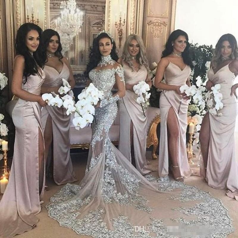 sexy sheer bling beaded mermaid wedding dresses 2019 lace applique high neck illusion long sleeve plus size chapel bridal party gown mermaid lace Bedazzled Wedding Dresses