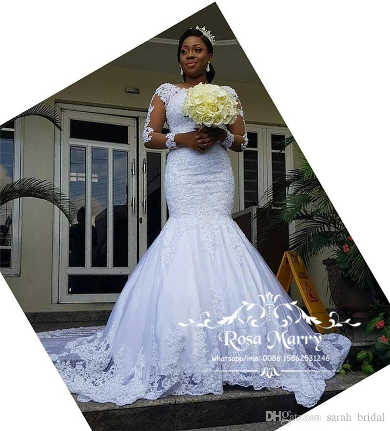 sexy vintage lace mermaid bellanaija wedding dresses 2019 long sleeves plus size beaded sequined nigerian arabic country beach bridal gowns designer Bella Naija Wedding Dresses