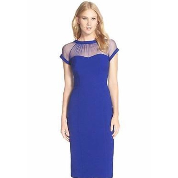sheer top dress royal blue wedding guest dress Nordstrom Wedding Guest Dresses