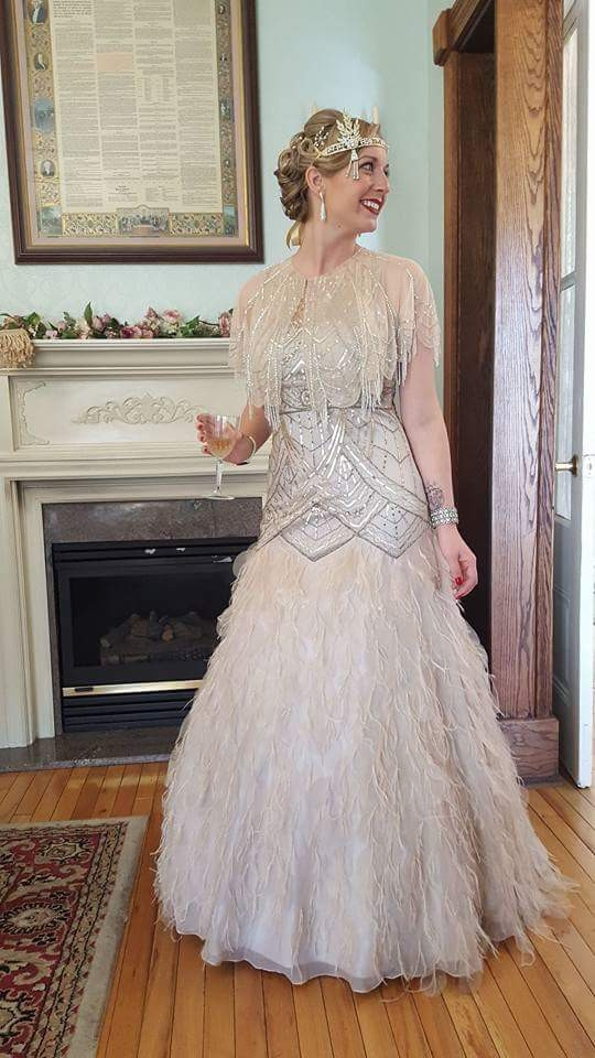 sue wong 1920s feather flapper wedding dress wedding dress on sale Sue Wong Wedding Dress
