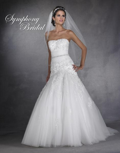symphony 2901 bridal gown with drop waist full lace tulle skirt Drop Waist Tulle Wedding Dress