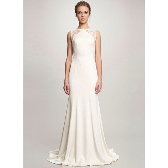 theia taylor lace crepe wedding gown sleeveless boutique Theia Wedding Dresses