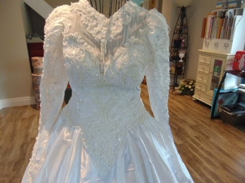 thrift store haulbridal gowns for appliqu trims vintage style doily delights Thrift Store Wedding Dresses